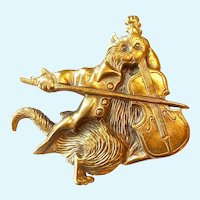 Cat and Fiddle Brooch Museum of Fine Arts Signed
