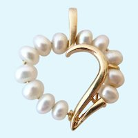 9Ct 9K Gold & Cultured Pearl Open Heart Pendant
