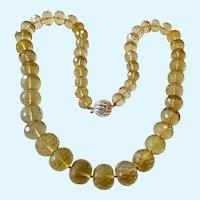 Lemon Quartz Bead Necklace 18K Gold Clasp Gorgeous