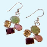 Sterling Silver 925 Multi-Gem Geometric Dangle Earrings