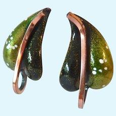 Matisse Renoir Enamel & Copper Leaf Clip Earrings
