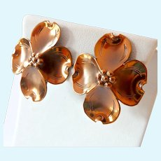 Nye Copper & Sterling Dog Wood Blossom Screw Back Earrings
