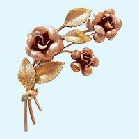 Krementz Floral Brooch Two Tone