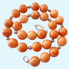Sterling Silver 925 Large Coral Bead Necklace Signed LUC Hand Knotted