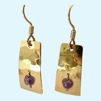 Wild Bryde 14K Gold Plate Amethyst Dangle Earrings