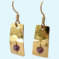 Wild Bryde 14K Gold Plate Amethyst Dangle Earrings