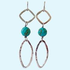 Sterling Silver 925 Turquoise Geometric Dangle Earrings