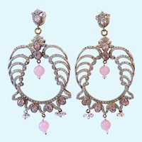 Impressive Ornate Dangle Post Earrings Clear & Pink Accents