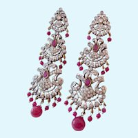 Stunning Long Post Earrings Ruby Corundum White Zircon & Other Gemstones