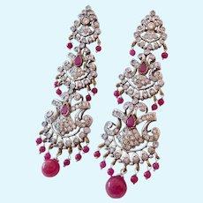 Stunning Long Post Earrings Ruby Corundum White Zircon & Other Gemstones