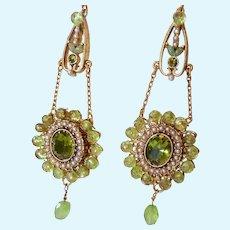 Vintage Dangle Earrings with Peridot Gemstones