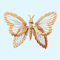 Monet 3-D Gold Tone Butterfly Brooch