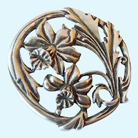 Seagull Pewter 1987 Open Work Floral Brooch