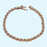 14K Gold & White Sapphire Bracelet 6.5 Grams
