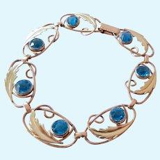 Vintage Two Tone Gold Filled Bracelet with Blue Rhinestones Signed