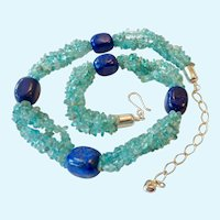 Jay King Mine Finds Lapis & Aquamarine Sterling 925 Necklace