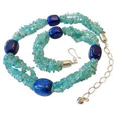 Jay King Mine Finds Lapis & Aquamarine Sterling 925 Necklace