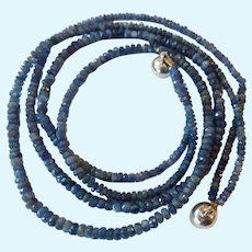 Two Strand Faceted Sapphire Bead Necklace Sterling Magnetic Clasp