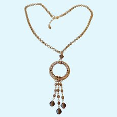 Fun Gold Tone Necklace  with Open Circle Pendant and Dangles