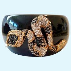 Wide Black Lucite Hinged Bangle Bracelet with Rhinestone Snake