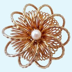 Round 3-D Gold Tone Atomic Swirl Brooch with Cultured Pearl