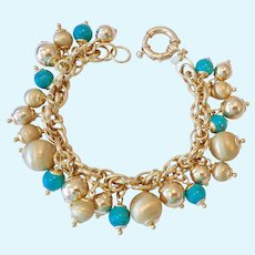 18K Gold Clad Sterling Silver 925 Turquoise Cha Cha Bracelet Signed Veronese
