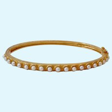 Gilt Sterling Silver 925 Hinged Bangle Bracelet with Cultured Pearls