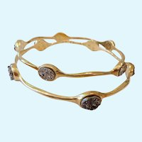 Pair Gilt Sterling Silver 925 & Druzy Bangle Bracelets Milor Italy