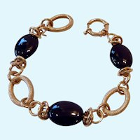 Gilt Sterling Silver 925 Bracelet with Large Black Onyx Stations
