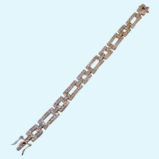 Sterling Silver 925 FAS Bracelet Deco Design Paved with Clear Stones