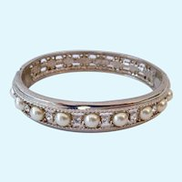 JBK Jackie Kennedy Replica Hinged Bangle Bracelet Silver Tone Faux Pearls and CZs Camrose & Kross