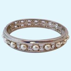 JBK Jackie Kennedy Replica Hinged Bangle Bracelet Silver Tone Faux Pearls and CZs Camrose & Kross
