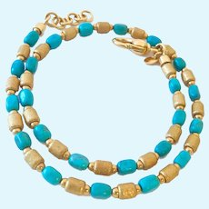 Milor Bronze Italy Turquoise & Gold Tone Necklace