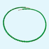 Sterling Silver 925 & Green Stone Bead Choker Wire Wrap Around Necklace Signed