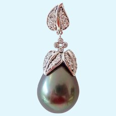 Sterling Silver 925 Large Faux Gray Pearl & CZ Enhancer Pendant