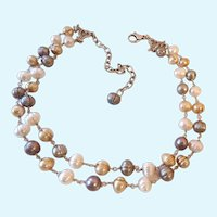 Sterling Silver 925 Double Strand Cultured Pearl Station Necklace