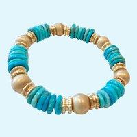 18K Gold Clad Sterling Silver 925 Turquoise Bracelet Magnetic Clasp Signed