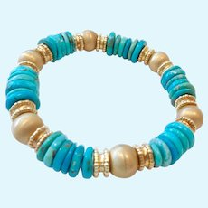 18K Gold Clad Sterling Silver 925 Turquoise Bracelet Magnetic Clasp Signed