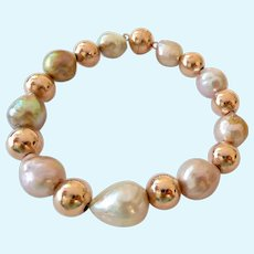 Honora Bronze Cultured Pearl Bracelet Magnetic Clasp