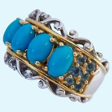 Sterling Silver 925 Turquoise & Topaz Band Ring Two-Tone Signed NH