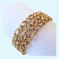 Gilt Sterling Silver 925 Wide Open Lacy Link Bracelet