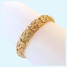 14K Gold Byzantine Bracelet Domed Made in Turkey Signed 11.6 Grams