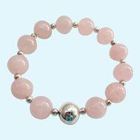 Sterling Silver 925 & Large 12MM Rose Quartz Bead Bracelet Magnetic Clasp Signed