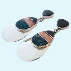Navajo Marie Tsosie Sterling Silver 925 Gemstone Inlay Dangle Earrings