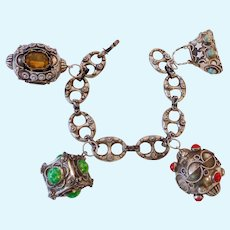 Exceptional 800 Silver Etruscan Bracelet with 4 Charms