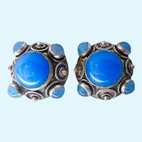 800 Silver Etruscan Clip Earrings Cannetille & Blue Cabochons