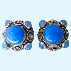 800 Silver Etruscan Clip Earrings Cannetille & Blue Cabochons