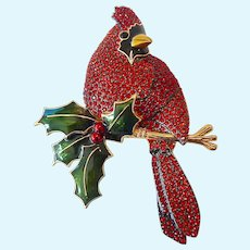 Large Joan Rivers Cardinal Paved Bird Enameled Holly Brooch with Original Pouch