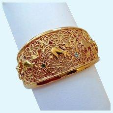 JBK Jackie Kennedy Elephant Motif Wide Hinged Bangle Bracelet Camrose & Kross Original Box & COA