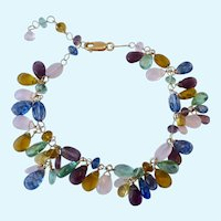 Gilt Sterling Silver 925 Cha Cha Bracelet Multi-Color Glass Dangles